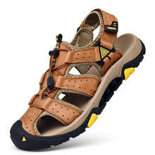 Classic Men Outdoor Mountaineering Sandals Leather Breathable Sports Anti-Slip Baotou Anti-Collision Head Soft Beach Shoes men stylish outdoor anti slip leather sports casual shoes