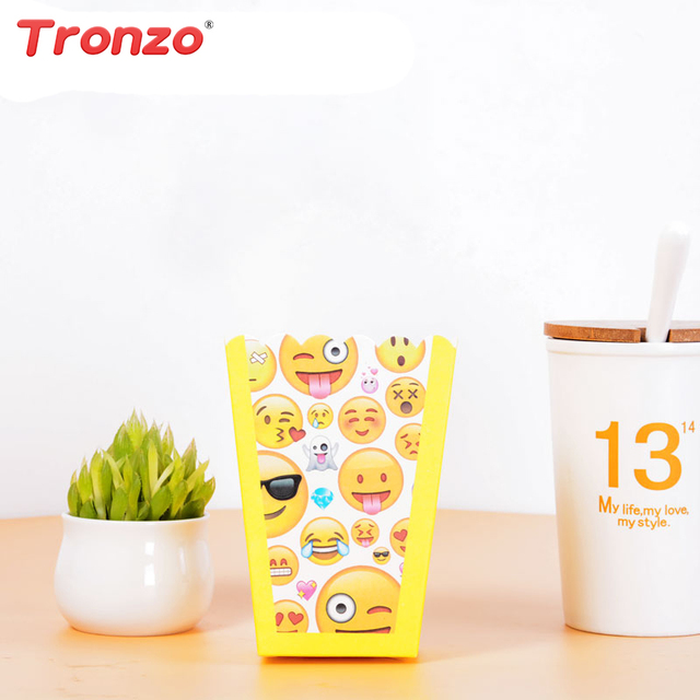 Tronzo Smile Face Emoji Popcorn Box Paperboard Candy Birthday Party Decoration Kids Supplies DIY Decorations