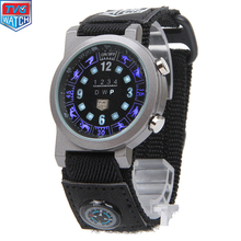 2016 TVG Marca Deportes Hombres Brújula Digital Reloj Llevado Manera Del Reloj Impermeable de Nylon Relojes Reloj Luminoso Relojes de Pulsera para Hombres