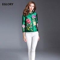 New Plus Size Coat Jackets Spring Summer Autumn 2018 Women Lurex Embroidery Flowers Elegant Short Coats & Outerwear Female XXL