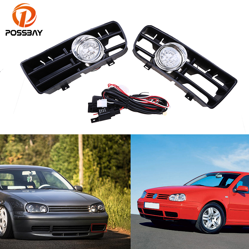 POSSBAY Front Lower Bumper Grille Fog Light Assembly for VW Golf/Variant/4 Motion 1998/1999-2006 LED White Daytime Driving Lamps for vw golf gti tdi mk4 1999 2004 front lower bumper grille grills led fog lights freeshipping d10 page 4