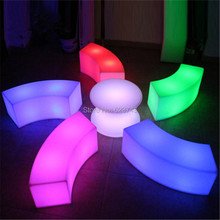 Modern Art deco Plastic waterproof rechargeable Arc shaped snake led bar chair barstool illuminated led bar