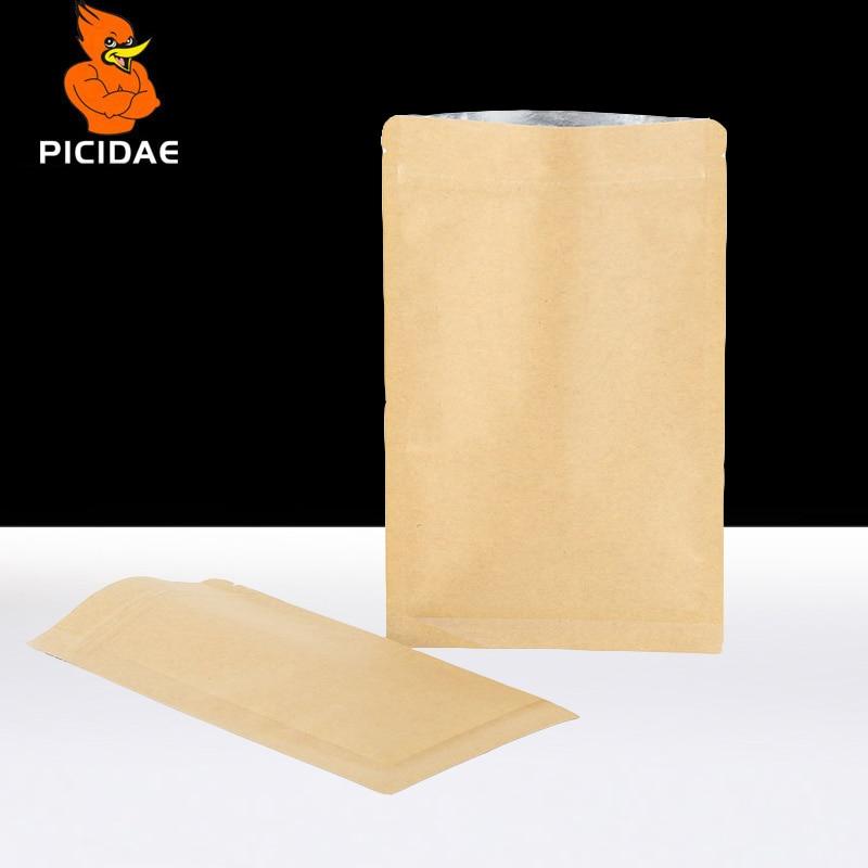 Flat Kraft paper zip lock bottom Storage Packing bag Aluminum foil dried fruit goods meat nut food Cookie coffee zipper Reseal