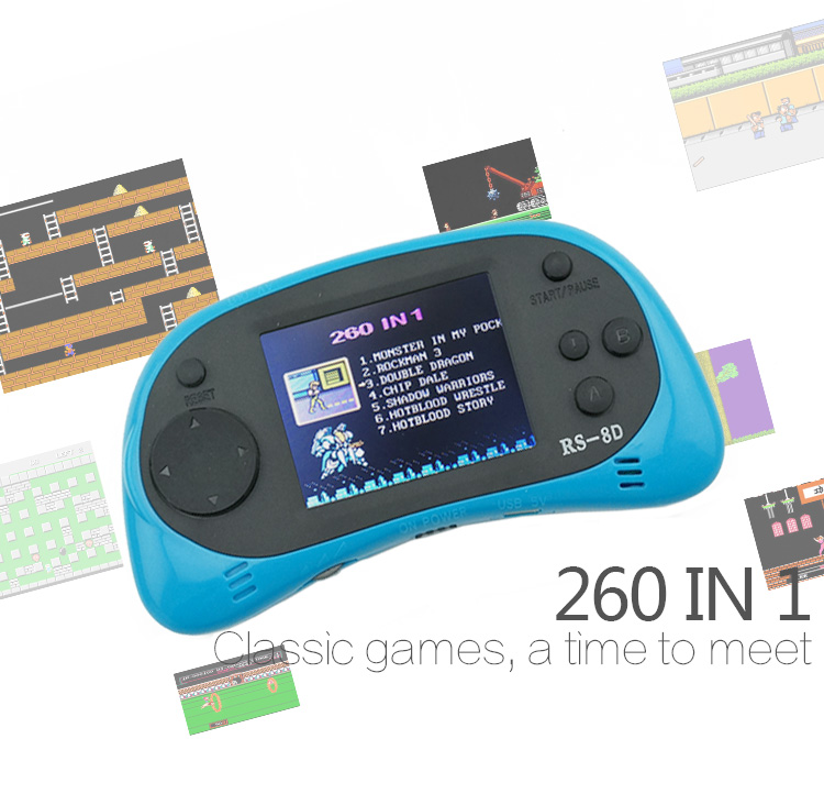 Portable 2.5 Inch 8 Bit Handheld Game Console Players Build In 260 Classic Games Children Video Game Support TV Output Toy Gift