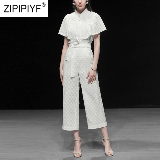 Simple Design Women Suits White Short Sleeve Single-breasted Loose Blouse Top Long Loose Bandage Casual White Chic Pants Z1131