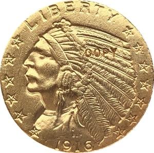 24-каратное золото с покрытием 1916-S $5 золото индийская половина фотокопия