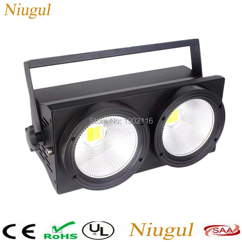 Niugul 2X100W COB LED Blinder Light Warm White and Cold White DMX512 Stage Led 200W Audience Blinder Light LED Background Lights blinder m45 x treme
