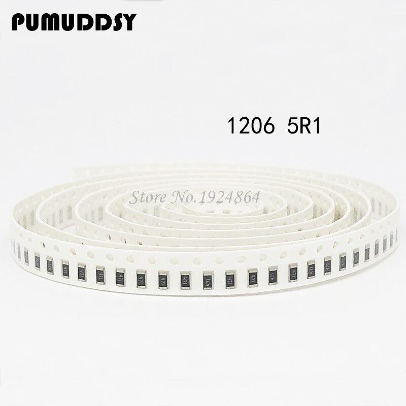 100PCS 1206 SMD Resistor  5.1 ohm chip resistor 0.25W 14W 5R1 5.1R