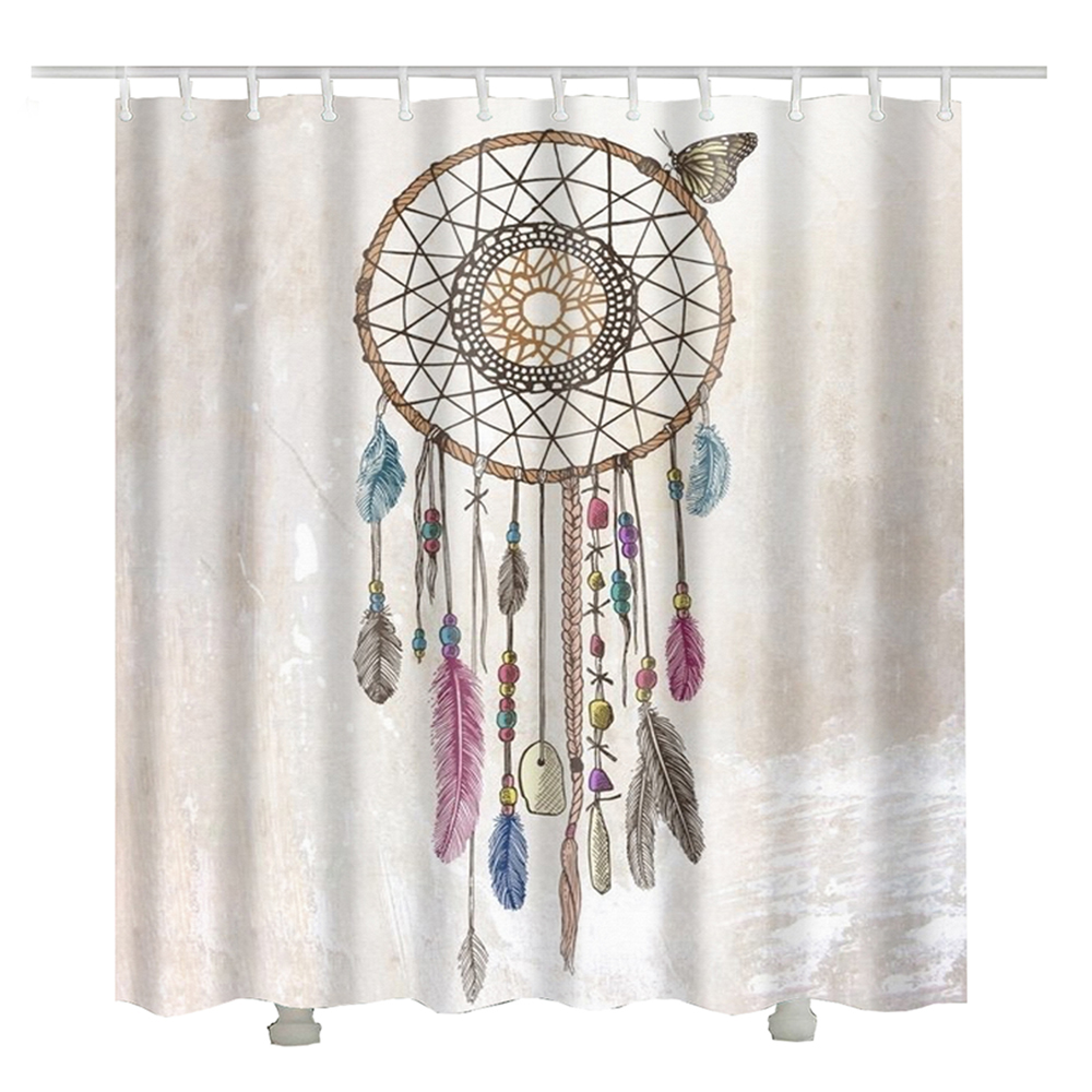 feather wind chimes indian shower curtain rideau douche. Black Bedroom Furniture Sets. Home Design Ideas
