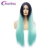Длинные прямые парики фронта шнурка женские парики из синтетических средних частей парики Chorliss  Лучший!