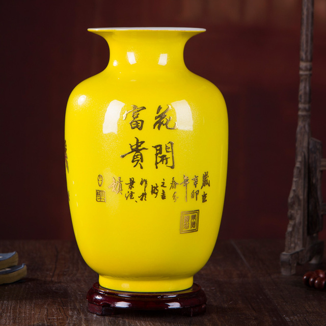 New Chinese Style Vase Jingdezhen Yellow Crystal Glaze Flower Vase Home Decor Handmade Shining Famille Rose Vases 3