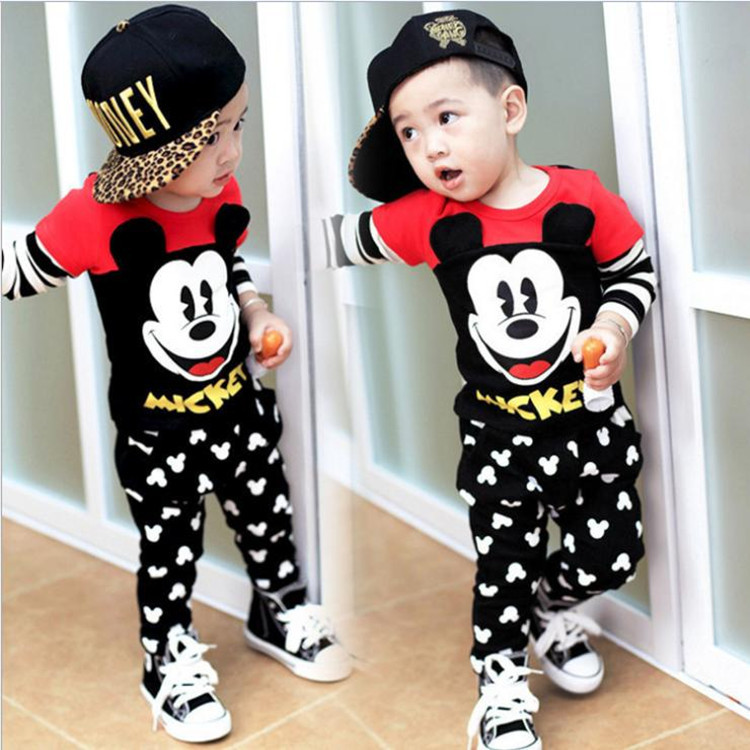 Girls and boys new children 's clothing spring and autumn fashion suit infants cotton cartoon Mickey Sweater suit children s clothing new spring and autumn 2015 children s skirt suit children s three piece children s suits