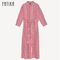 FATIKA Women Fashion Red Striped Three Quarter Sleeve Midi Dress Elegant Ladies Casual Summer Dress