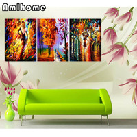 NEW 5D DIY Diamond Painting Cross Stitch Pedestrians In The Rain 3pcs Diamond Embroidery Full Drill