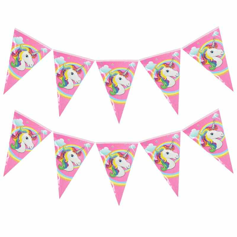 Unicorn Theme การ์ตูนชุดบอลลูนชุดแผ่นผ้ากันเปื้อนแบนเนอร์วันเกิดกล่องขนม Candy Baby Shower Party ตกแต่ง