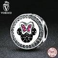 VOROCO Minni Cartoon Bolas Del Nudo Del Arco Clásico 925 de Plata Esterlina Encantos Cupieron Las Pulseras Pandora Beads & Jewelry Making S381