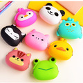 hot design 2pcs /lot Cute Cartoon Silicone Coin Purse Rubber Wallet Case Key Holder Storage Small Bag