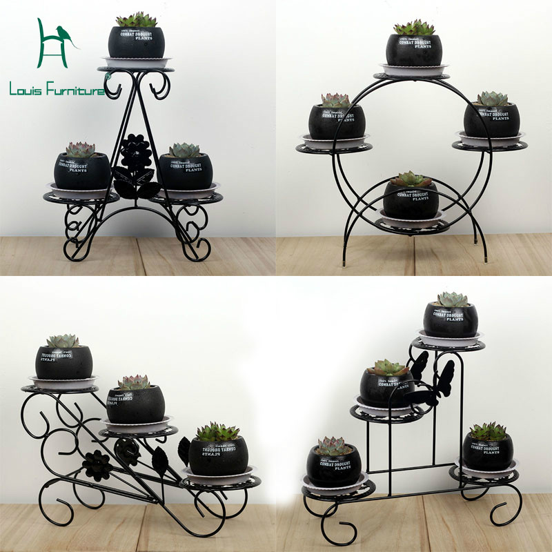 Louis Fashion Plant Shelves Mini Iron Art Office Desktop Multifunctional Windowsill For Balcony Flower Pots