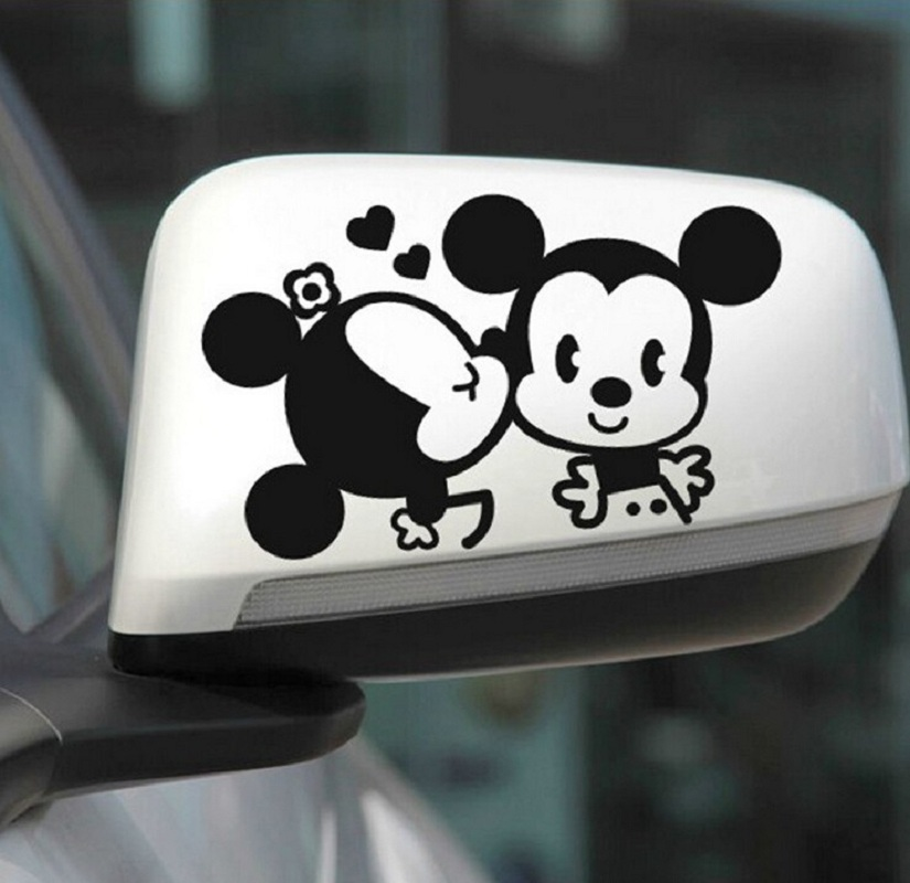 2Pcs Cute Black White Lovers Mickey Mouse Minnie Car Stickers for Car Rearvie Mirror Waterproof Car Decor Decal Vinyl Stickers