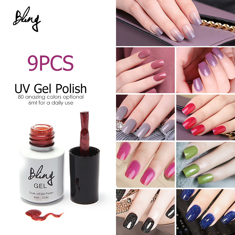 (Choose 9pcs)FOCALLUER 6ml UV Gel Nail Polish   Gelpolish UV LED Lamp Vernis Semi Permanent Gel Nail 12pcs lot green series uv gel nail polish led lamp gel lacquer gel polish vernis semi permanent gel varnish nail primer base top