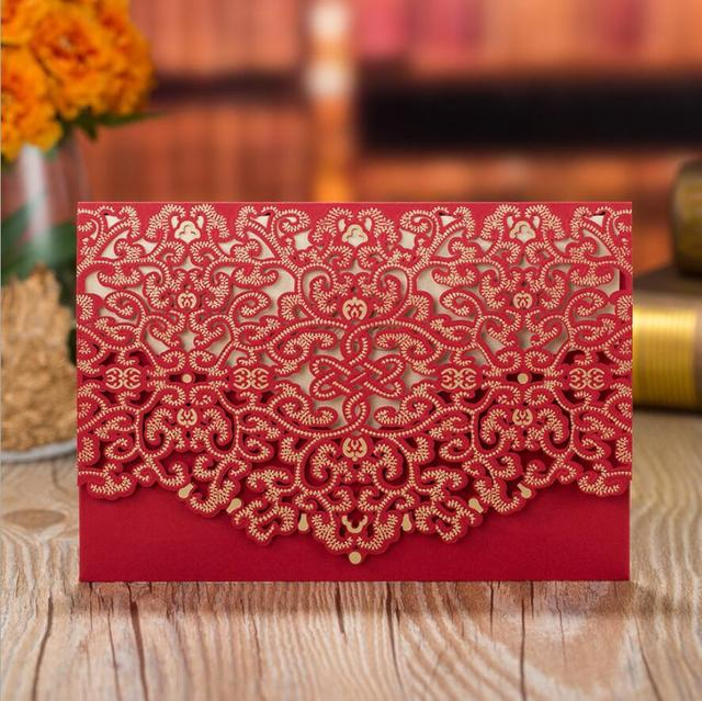 100pcs red laser cut wedding invitations cardstock kits with 100pcs red laser cut wedding invitations cardstock kits with embossed flowers pocket cards for marriage party stopboris Image collections