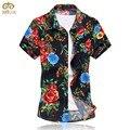 Grande tamanho 6xl 5xl marca clothing 10 algodão cor floral chemise homme camisa masculina de manga curta camisa dos homens havaí 2017 nova