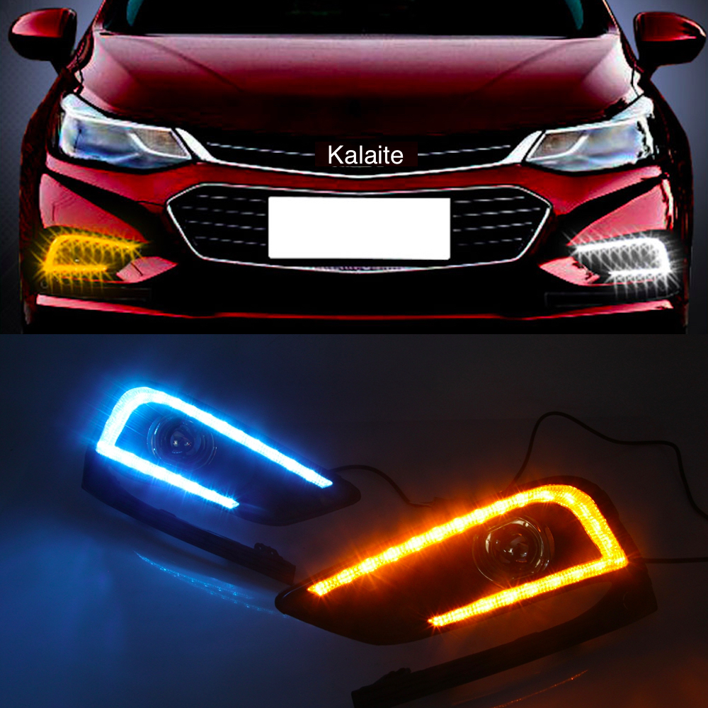 Car DRL LED daytime running light for Chevrolet Cruze 2016 2017 3-Colors White Blue Yellow Driving Day Light auto car styling icoco 3 led waterproof car light universal daytime running lights dc12v super white auto car fog lamps car styling