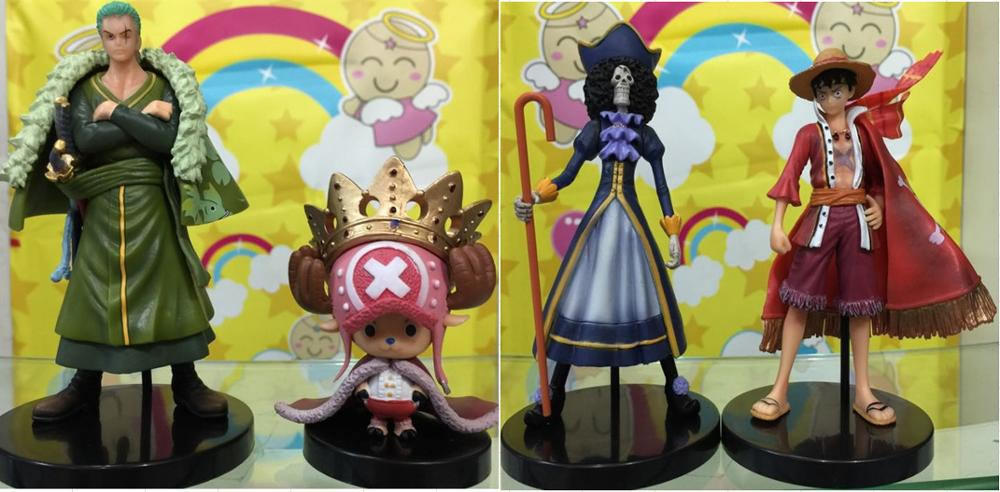 4PCS/LOT Japan Anime ONEPIECE 15 Anniversary Luffy Zoro Brook Chopper collectible model toy PVC action figure