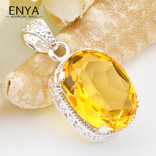 ENYA Amazing Vintage Silver Plated Yellow Crystal Necklace Pendants For Nice Women Wedding Jewelry Party Bijoux P0043