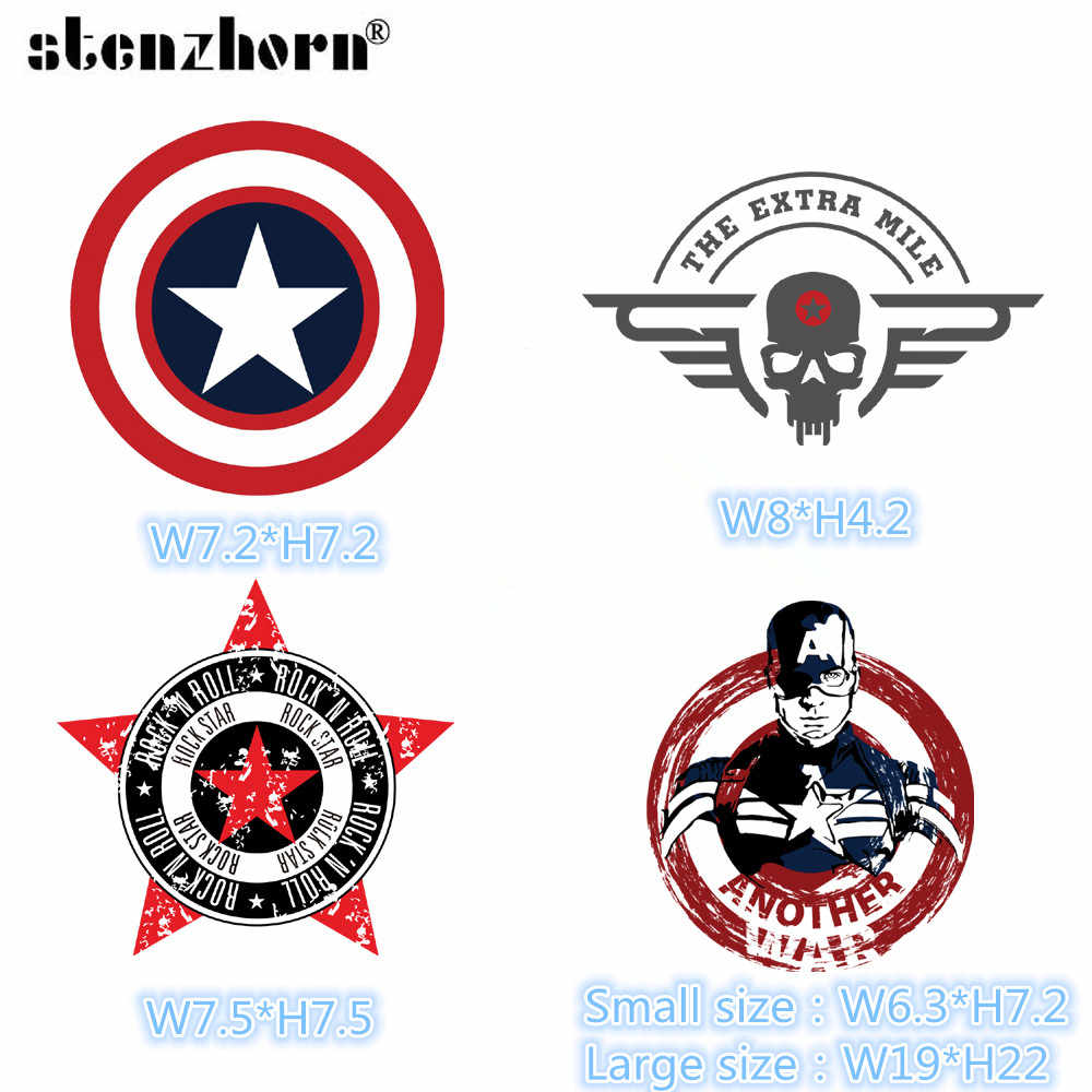 Captain America cartoon Iron On Patches for Clothing Heat Transfers For DIY T-shirt Clothes for cowboy jacket Ironing Sticker