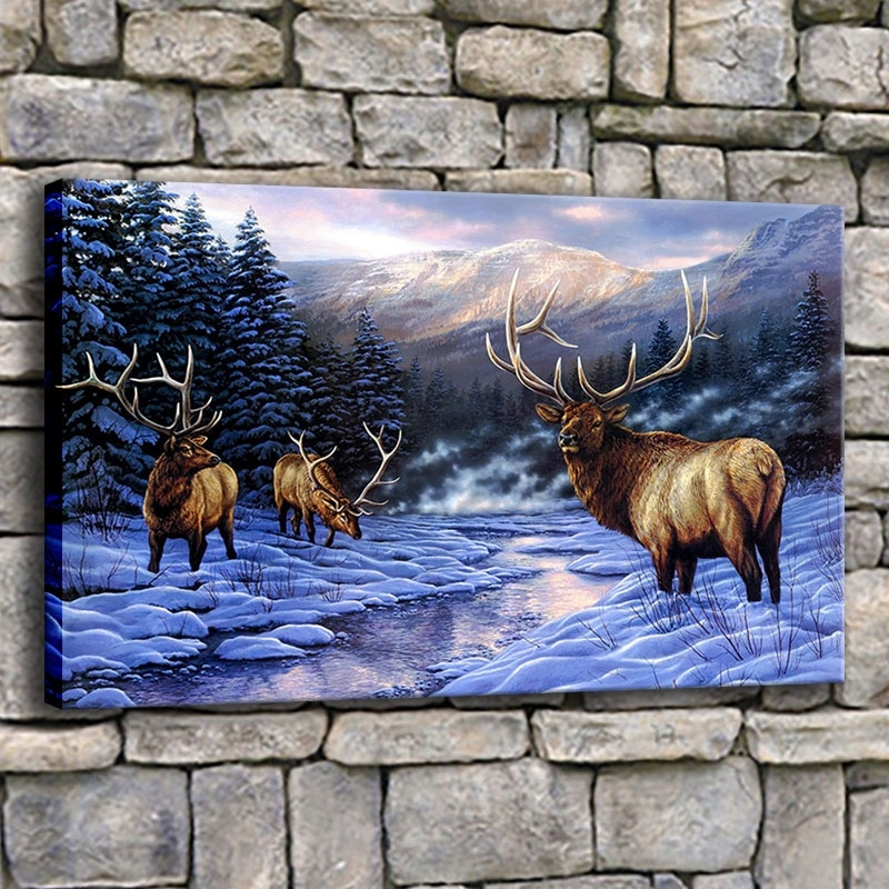 Winter Forest Snow Elk Nature Reindeer