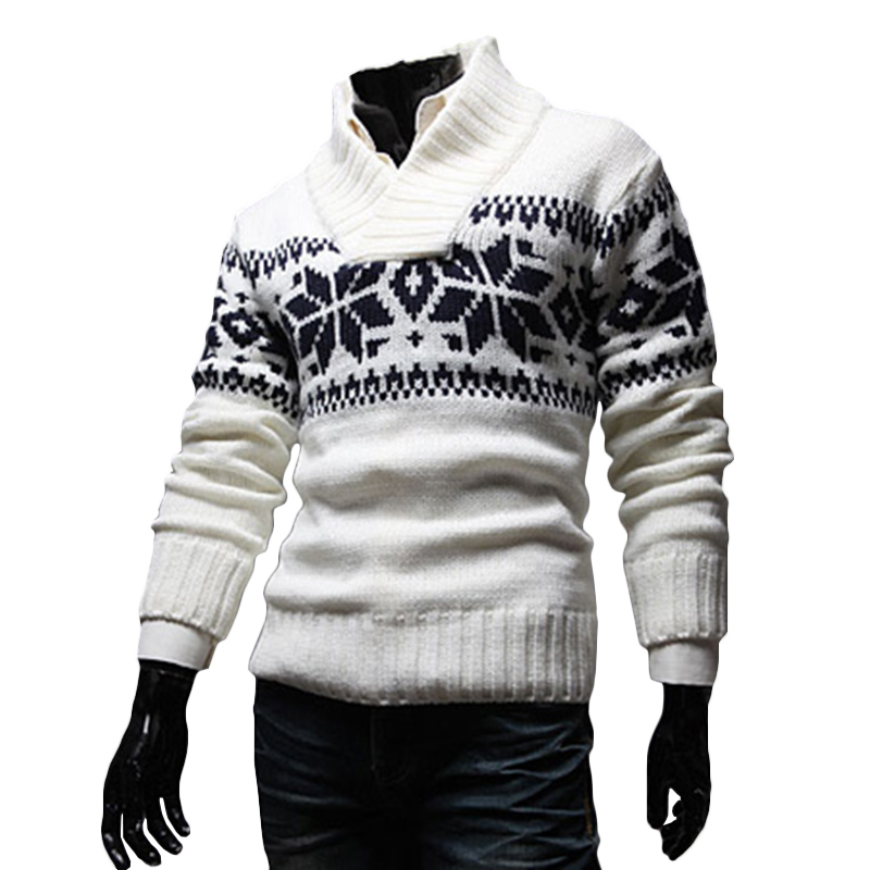 Men Snowflake Christmas Sweater Winter Knitted Sweater V