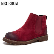 2017 New Arrival Autumn Spring Chelsea Boots Women Ankle Boots Pigskin Martin Boots Retro Vintage Fashion Botas Mujer 16628W