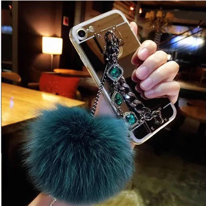For xiaomi Redmi 4X 4A 5A 6A Note 3 4 5 MIX2 2S MAX 2 5S 5C 5X 6 prime Diamond Bracelet chain Fox pompom fur bling phone case