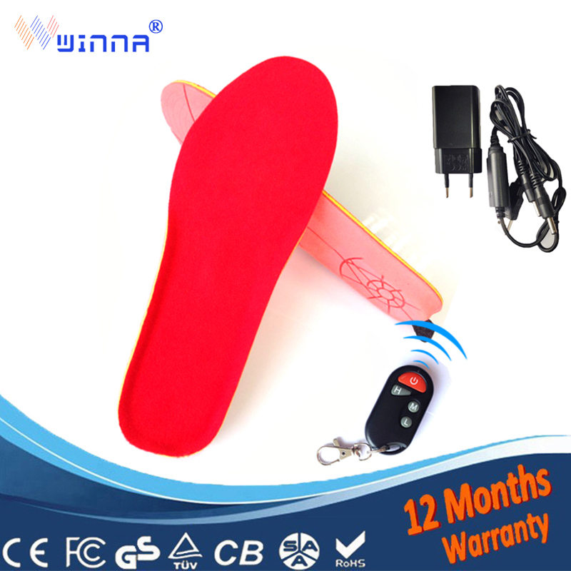 Wireless heating insoles with Remote control winter women warm insoles Insert shoe boot accessories size 35 40 free shipping