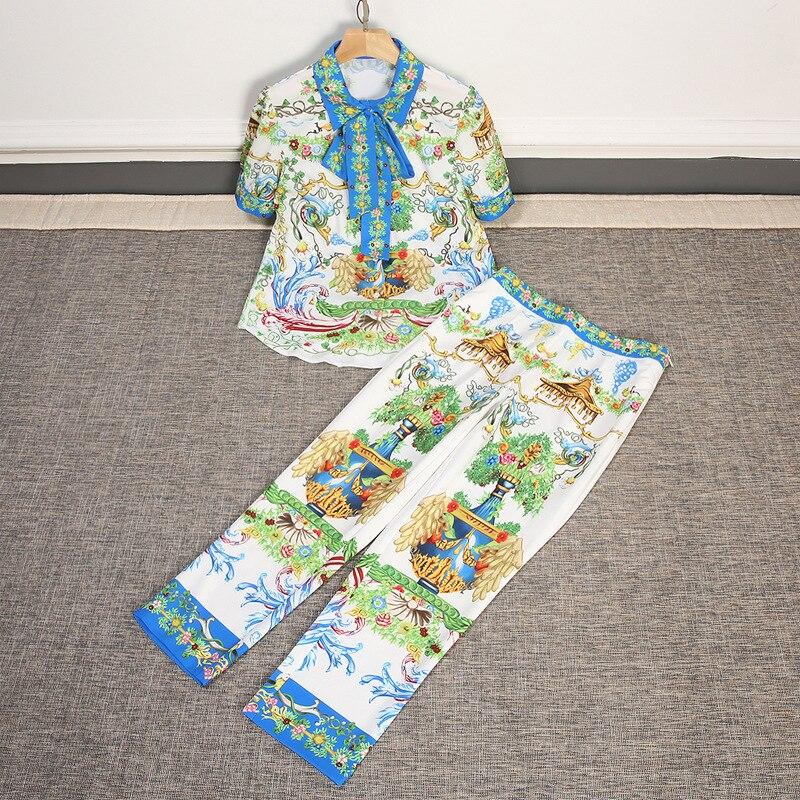 2018 summer womens runway women new design set lapel short-sleeved printing shirt feet pants retro print suit