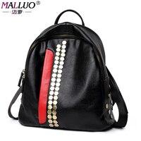MALLUO Large Capacity Fashion Black Genuine Leather Backpack Promotion Solid Black Women Backpacks Mochila Preppy Style
