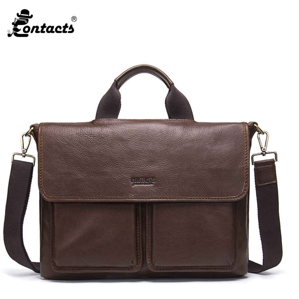 Contact's Men Handbag Genuine Leather Bag Totes Men Messenger Bags Crossbody Bag laptop Bags Laptop Briefcase Handbag for Man xiyuan genuine leather handbag men messenger bags male briefcase handbags man laptop bags portfolio shoulder crossbody bag brown