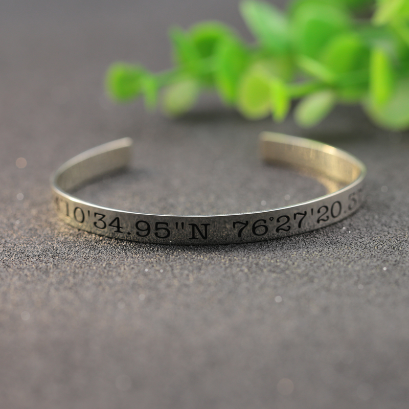 location pin personalised gift latitude bracelet silver