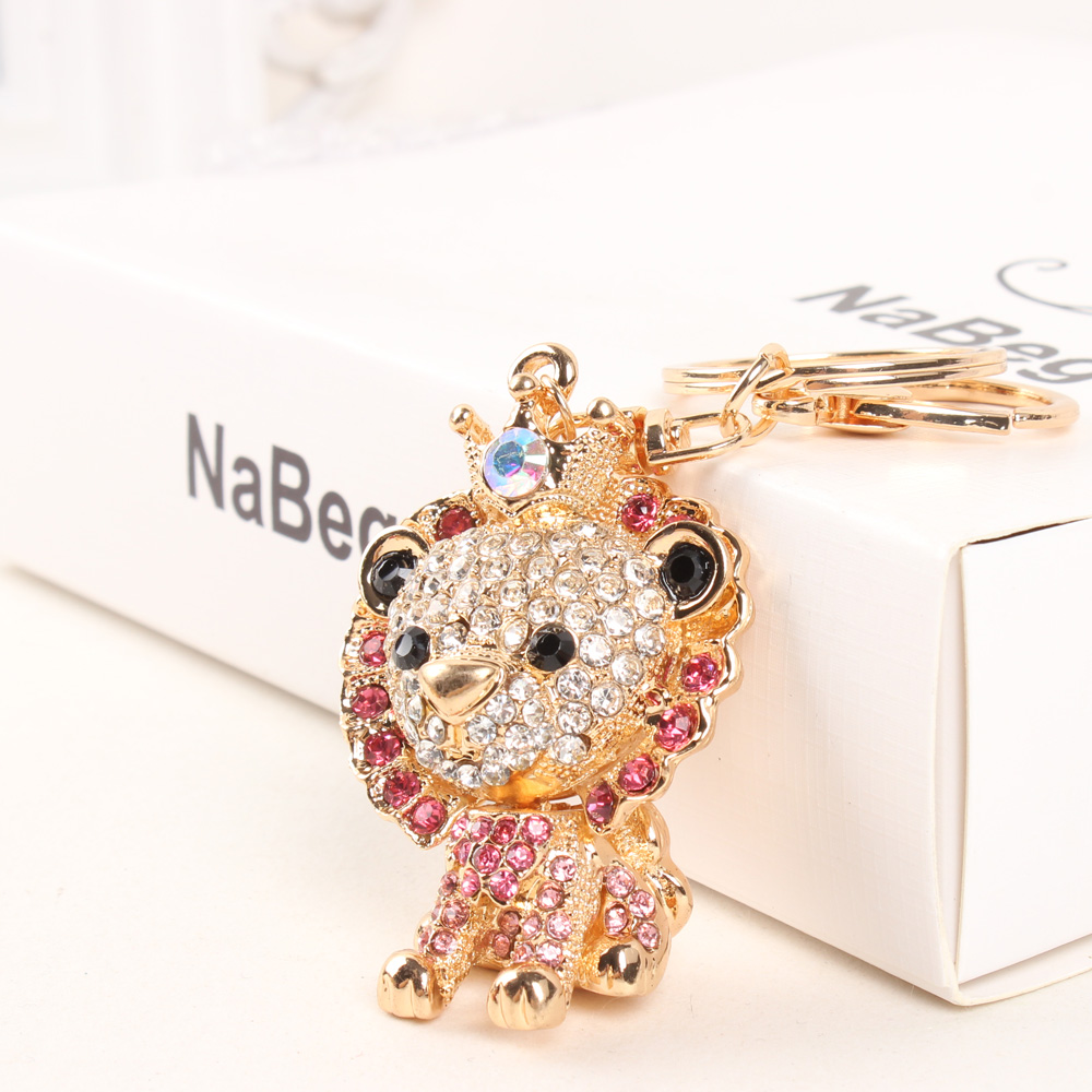 YXT Pink Lion Leo King Lovely Crownling Fashion Rhinestone Crystal Purse Bag Car Key Ring Chain Jewelry Gift Brutal-style