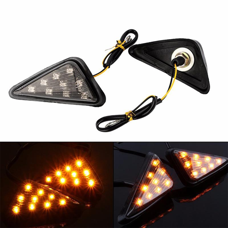 1 Pair 12V 9LED Motorcycle Smoke Triangle Flush Light Mount LED Turn Signals Blinker Light