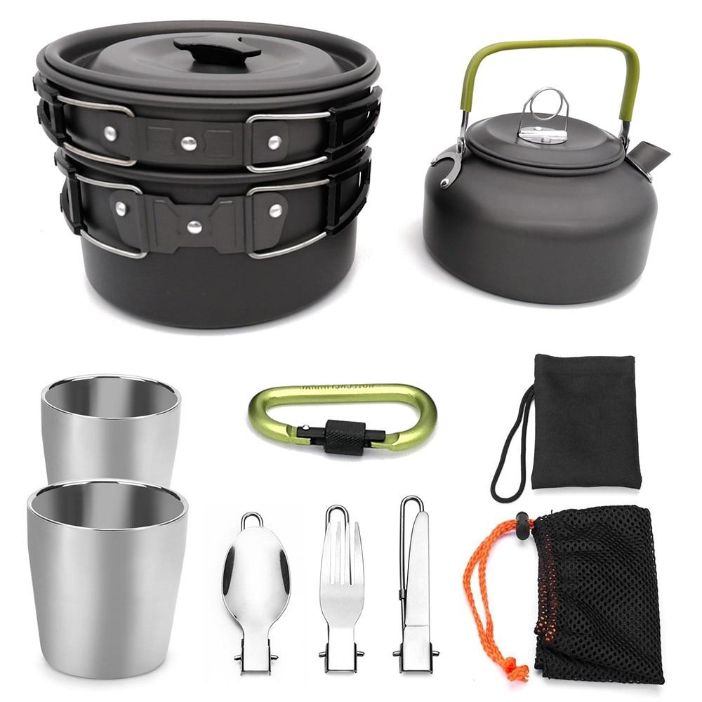 Image 5 - 9 шт. портативная посуда для кемпинга, походный чайник для пикника, набор для приготовления пищи, Туристическая посуда, походный набор для приготовления пищи-in Столовые приборы для пикника from Спорт и развлечения