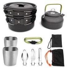 9 шт., набор посуды для кемпинга, походная посуда, кухонная утварь, набор для приготовления пищи, чайник, ложка, нож, вилка для походов, скалолазания