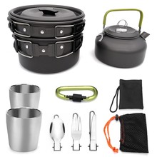 9Pcs Outdoor Camping Tableware Set Camping Cookware Utensils Cooking Set Travel Pan Kettle Spoon Knife Fork for Hiking Climbing