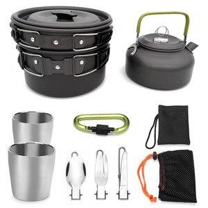 Image 1 - Juego de 9 Uds de vajilla para acampar al aire libre, utensilios de cocina para acampar, juego de cocina, olla de viaje, tetera, cuchara, cuchillo, tenedor para senderismo y escalada