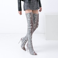 Women Pumps 22 27.5cm Autumn and winter foreign trade new sexy fashion snake pattern pointed high heeled pedicure over the knee