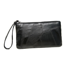 Sheepskin clutch bag female new coin purse stitching leather small handbag ultra-thin mobile phone bag Vintage Women Long Wallet cheap Nistova Envelope Genuine Leather Day Clutches Polyester None Tassel Fashion Solid zipper Soft Interior Slot Pocket Cell Phone Pocket
