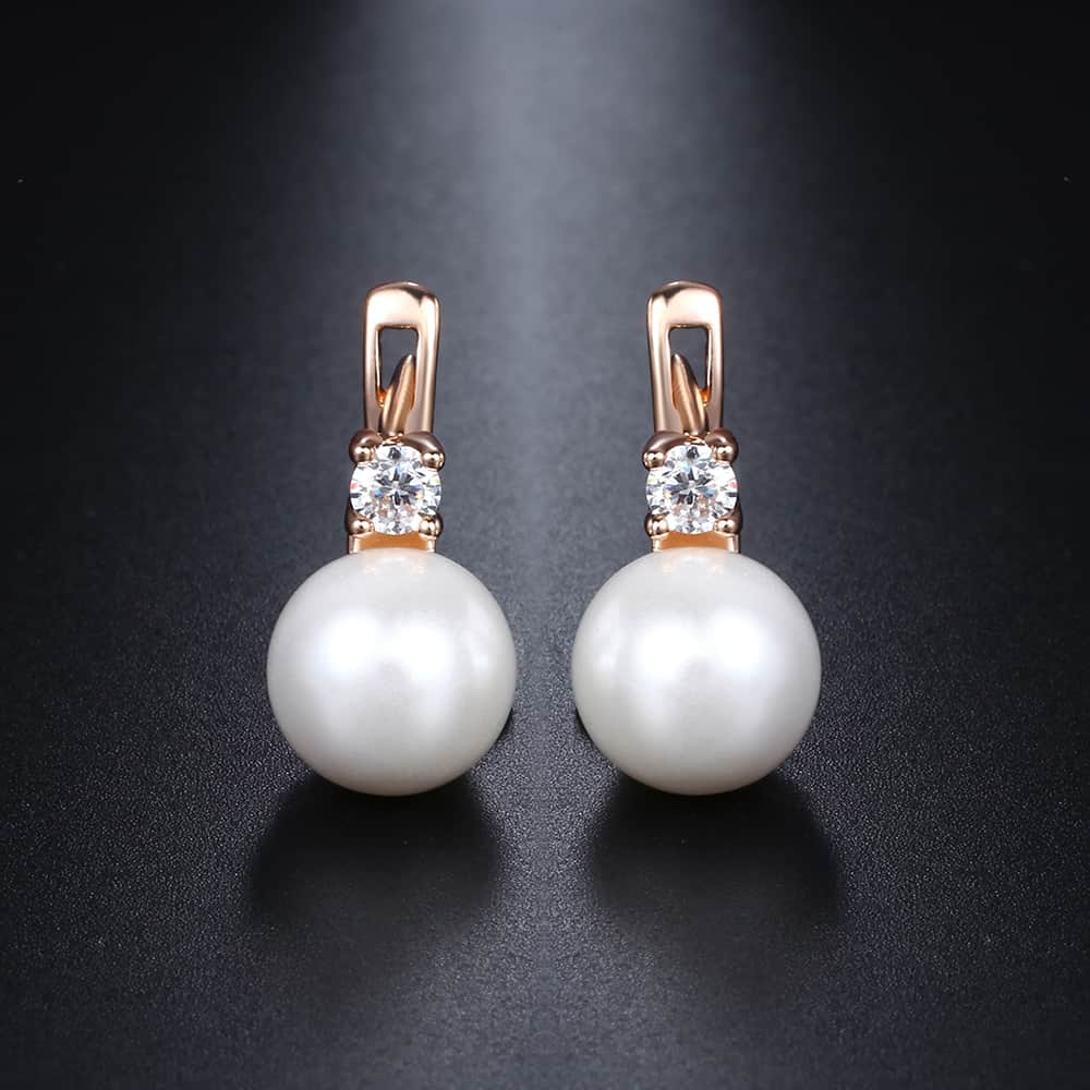 Davieslee White Pearl Stud Earrings For Women 585 Rose Gold Filled Paved Cubic Zirconia Womens CZ Earring Fashion Jewelry DGE128
