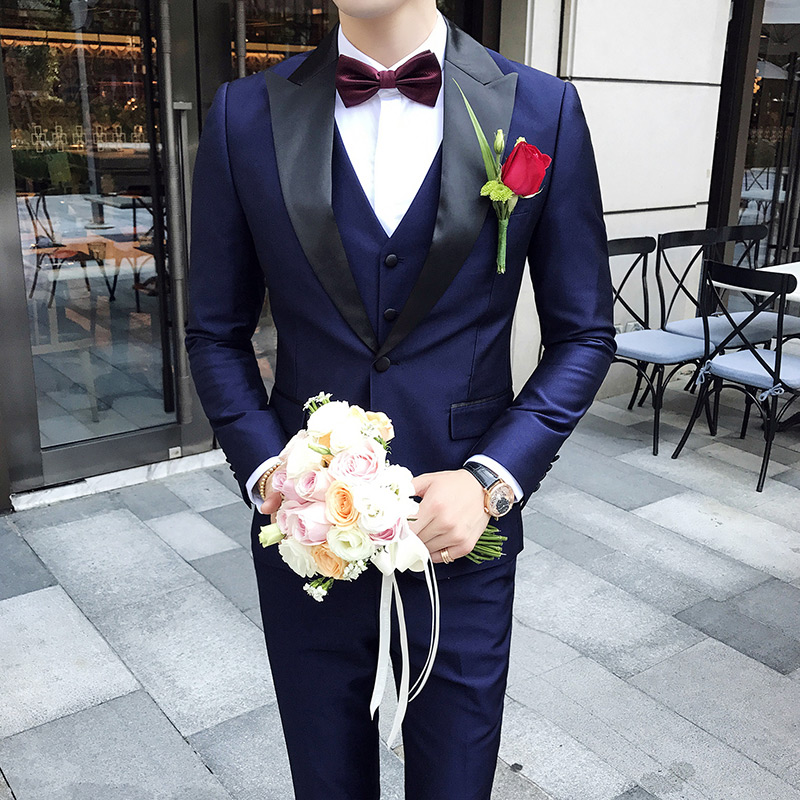 Peak Collar Suits Men Slim Fit Latest Mens Wedding Suits Smoking Homme Mariage Dinner Party Prom Violet Suit Terno Slim 3PCS
