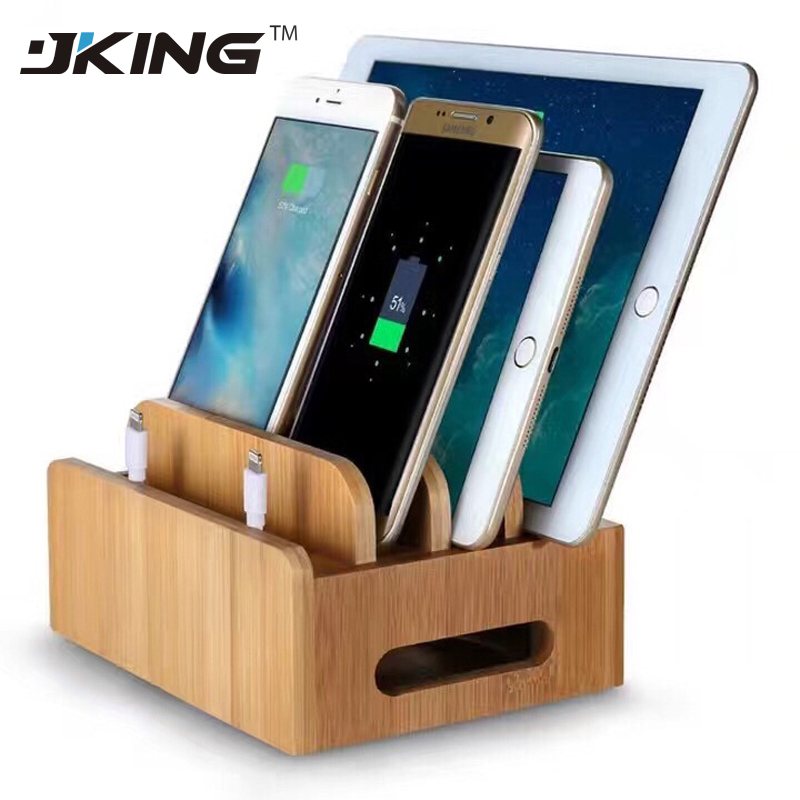JKING Tablet Desktop Holder Stand Universal Natural Bamboo Charging Dock Cradle Stand De ...